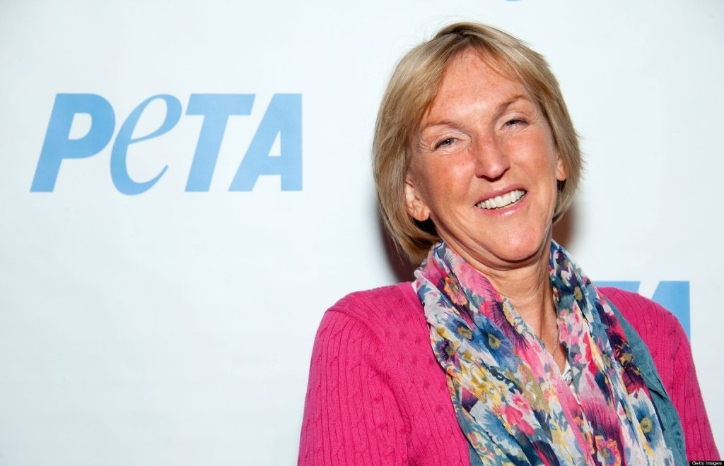 """LOS ANGELES, CA - MARCH 08: PETA President Ingrid Newkirk arrives at the grand opening of PETA's new LA building """"The Bob Barker Building"""" at The Bob Barker Building on March 8, 2012 in Los Angeles, California. (Photo by Amanda Edwards/Getty Images)"""